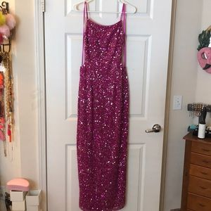 SCALA full pink beaded/sequin maxi/gown